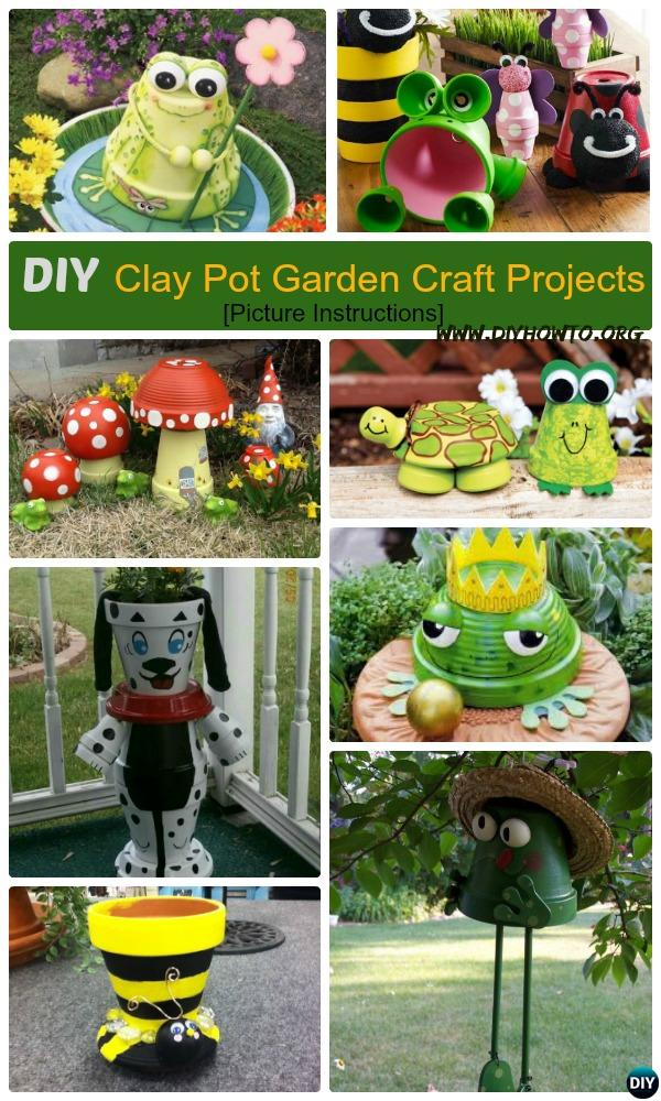 DIY Clay Pot Garden Craft Projects with Picture Instructions. Craft Own Whimsical Garden decorating by stacking and Painting with Clay Pots