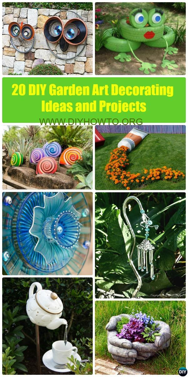DIY Garden Art Decorating Ideas Instructions: brilliant projects to add color and joy to a garden and yard with step by step instructions to follow.
