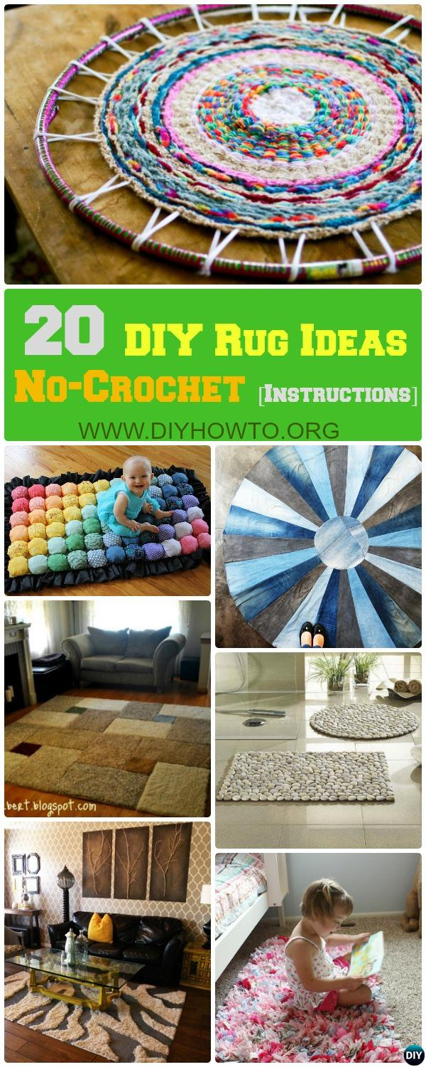 No-Crochet or No Sew DIY Rug Ideas and Projects, all with Instructions...