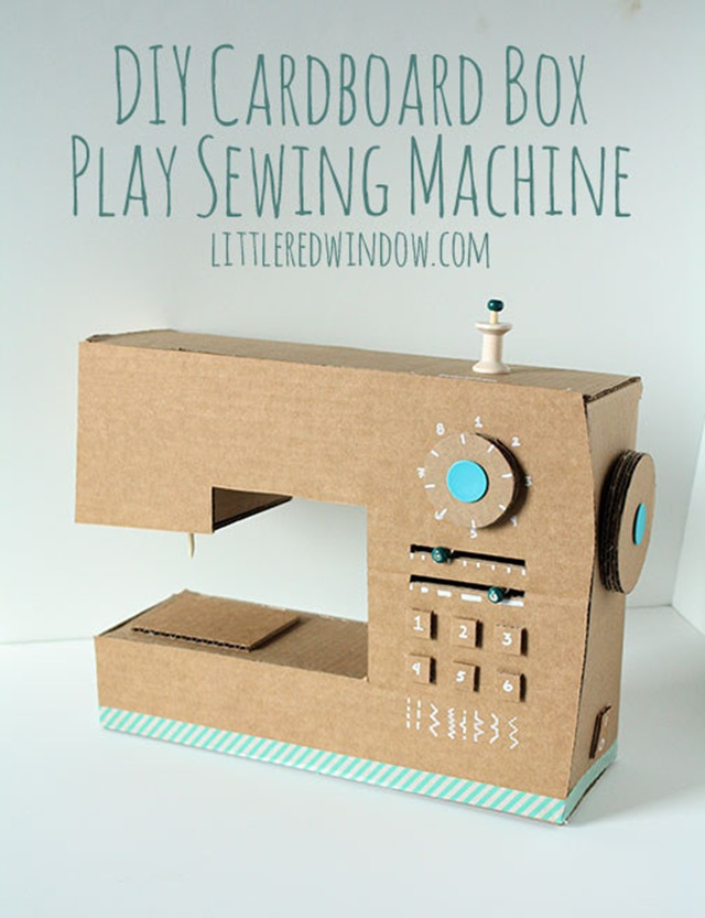 A Cardboard Sewing Machine-20 Awesome Ways to Recycle Cardboard Box for Kids