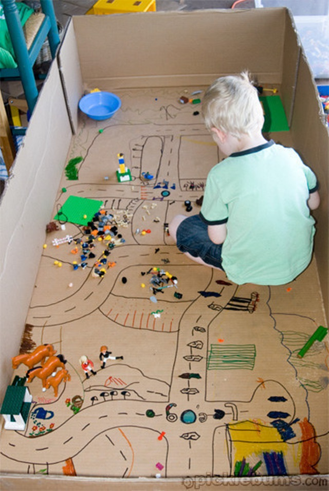 Cardboard Lego Town-20 Awesome Ways to Recycle Cardboard Box for Kids