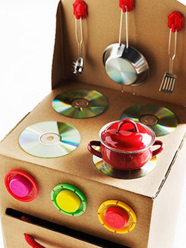 Cardboard Play Kitchen using Old CDs-20 Awesome Ways to Recycle Cardboard Box for Kids