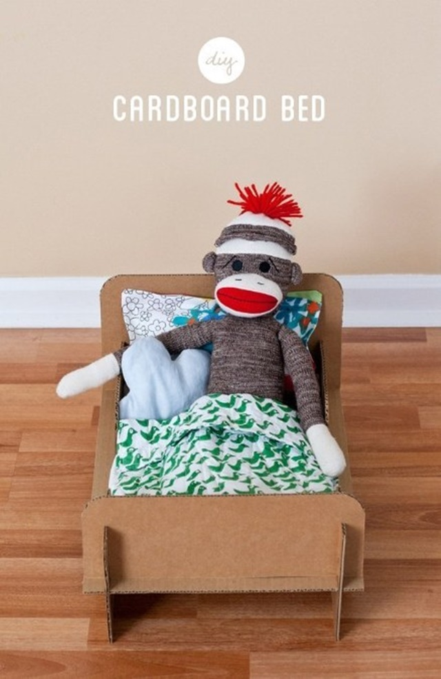Cardboard Toy Bed -20 Awesome Ways to Recycle Cardboard Box for Kids