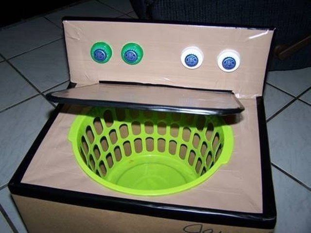 Cardboard Washing Machine-20 Awesome Ways to Recycle Cardboard Box for Kids