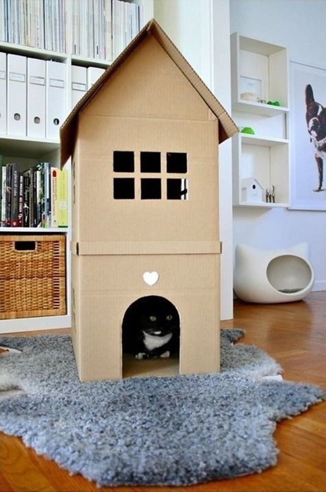Cardboard Cat House-20 Awesome Ways to Recycle Cardboard Box for Kids