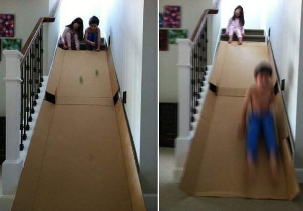 Cardboard Stairway Slide-20 Awesome Ways to Recycle Cardboard Box for Kids