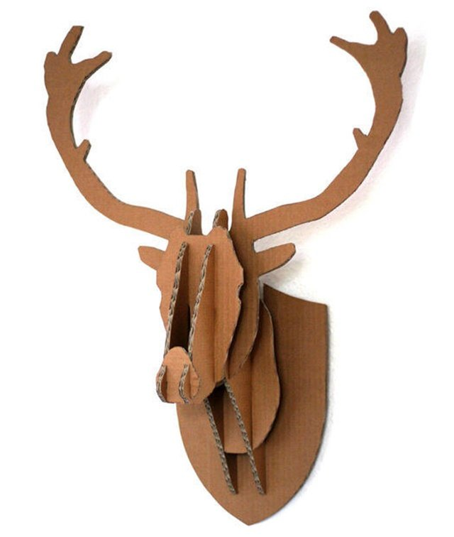 Cardboard Deer Head Wall Decor-20 Awesome Ways to Recycle Cardboard Box for Kids