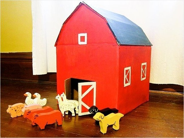 Cardboard Red Barn-20 Awesome Ways to Recycle Cardboard Box for Kids