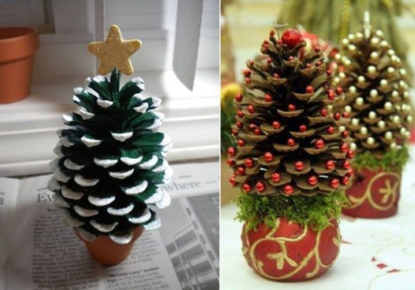 Pinecone Christmas Tree-20 Beautiful DIY Pinecone Craft Projects For Christmas Decoration