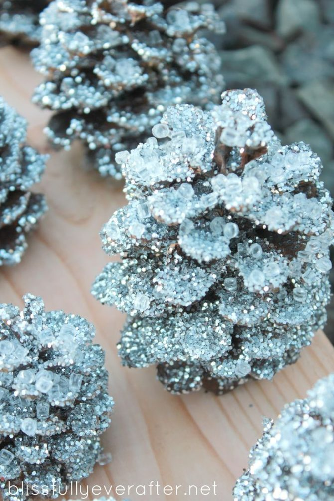 Glitter Snow Pinecones-20 Beautiful DIY Pinecone Craft Projects For Christmas Decoration