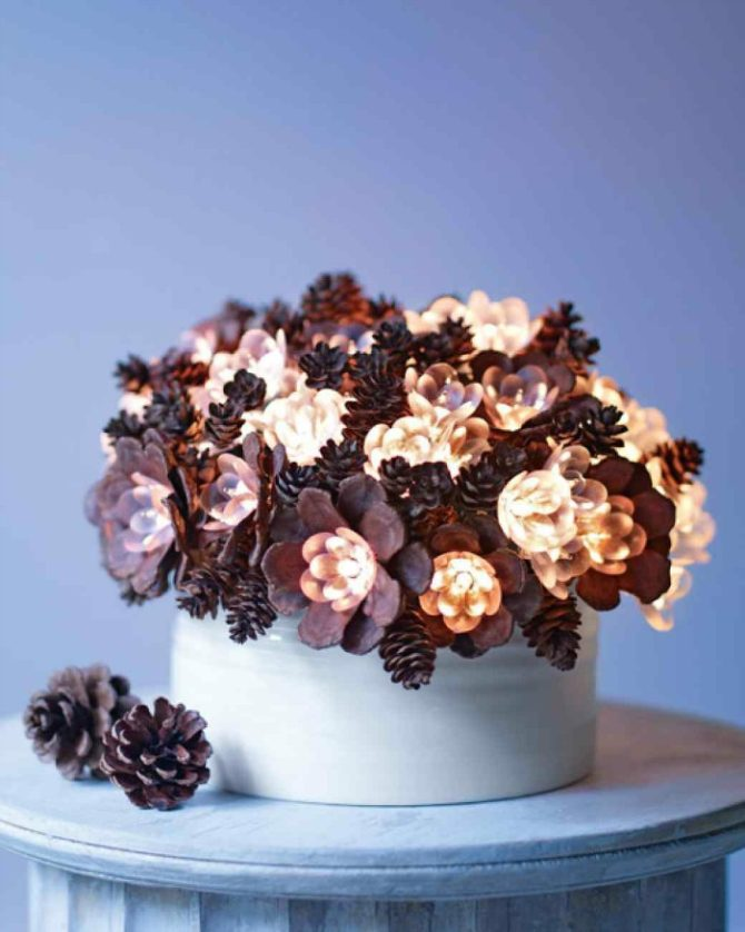 Lighted Pinecone Arrangement-20 Beautiful DIY Pinecone Craft Projects For Christmas Decoration