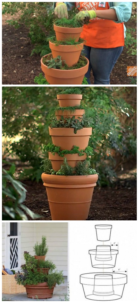 DIY Stackable Herb Tower Tutorial - DIY Space Saving Vertical #Garden Projects Picture #Instructions;