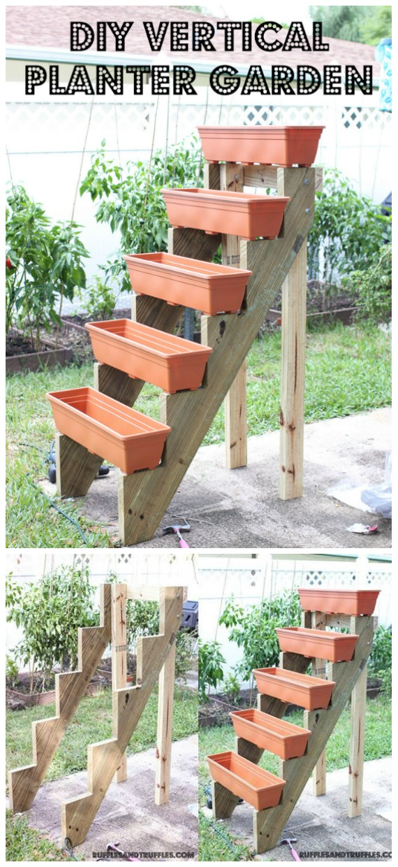 DIY Vertical Planter Box Tutorial - DIY Space Saving Vertical #Garden Projects Picture #Instructions;