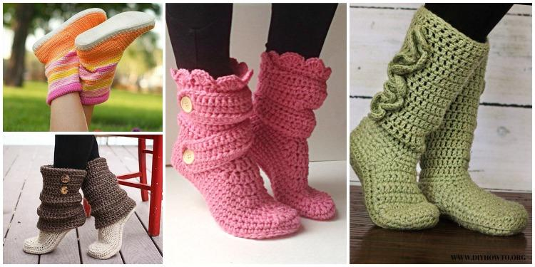 Crochet Slipper Boots Archives Diy How To