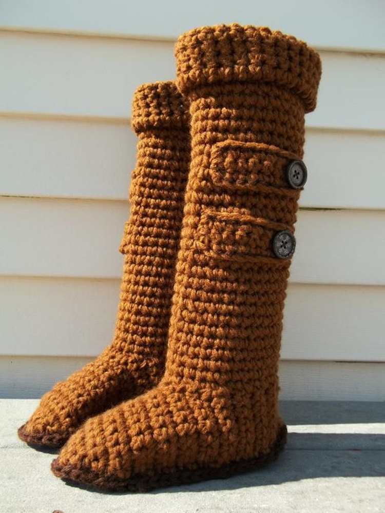 High Knee Crochet Slipper Boots Patterns To Keep Your Feet Cozy