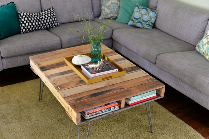 DIYHowto 15 DIY Coffee Table Ideas And Free Plans With Instructions-Morden Pallet Coffee Table