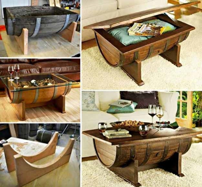 DIYHowto 15 DIY Coffee Table Ideas And Free Plans With Instructions-DIY Whiskey Barrel Coffee Table