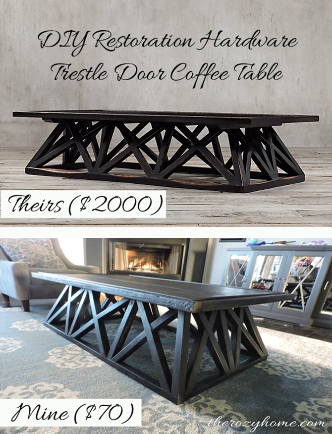 DIYHowto 15 DIY Coffee Table Ideas And Free Plans With Instructions-DIY Trestle Door Coffee Table
