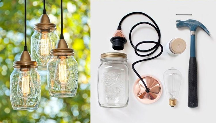 20 Unique Mason Jar DIY Crafts and Projects You'll Love to Try-Mason Jar Hanging Lights