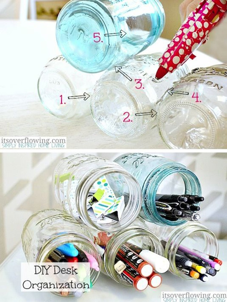 20 Unique Mason Jar DIY Crafts and Projects You'll Love to Try-Mason Jar Desk Organizer