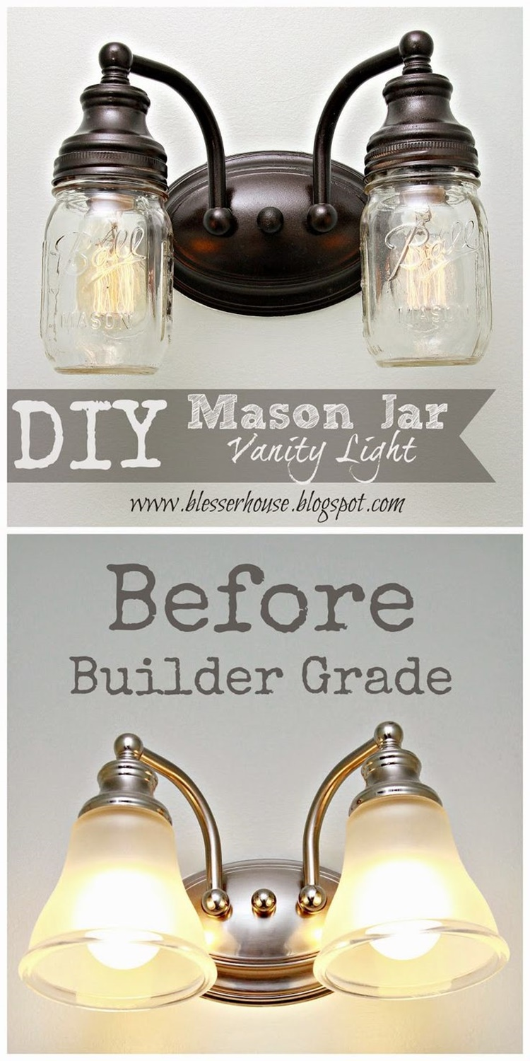 20 Unique Mason Jar DIY Crafts and Projects You'll Love to Try-Mason Jar Vanity Light