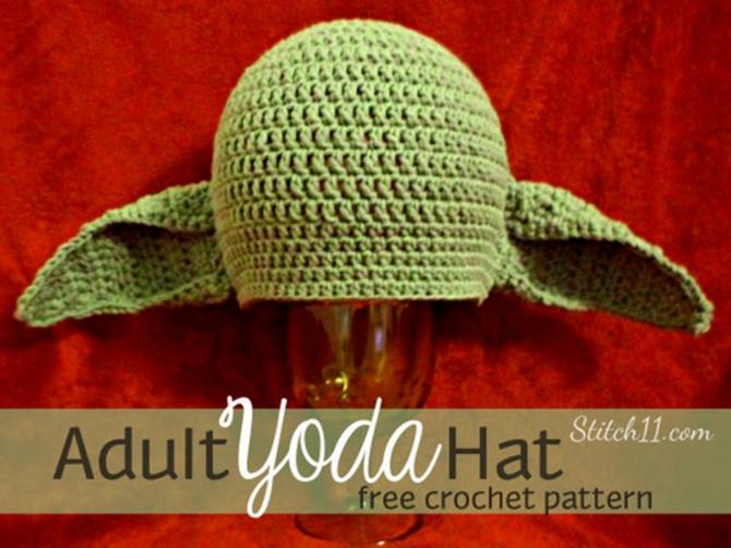 DIY Crochet Yoda Hat Free Pattern-Adult Version