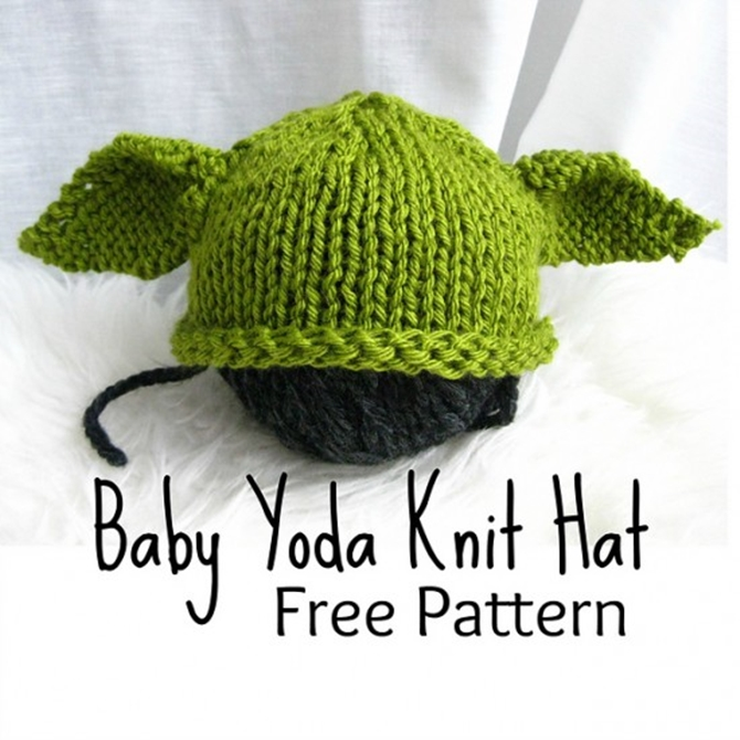 DIY Baby Knit Yoda Hat Free Pattern