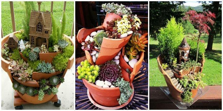 DIY Broken Pot Fairy Garden Ideas Picture Instructions