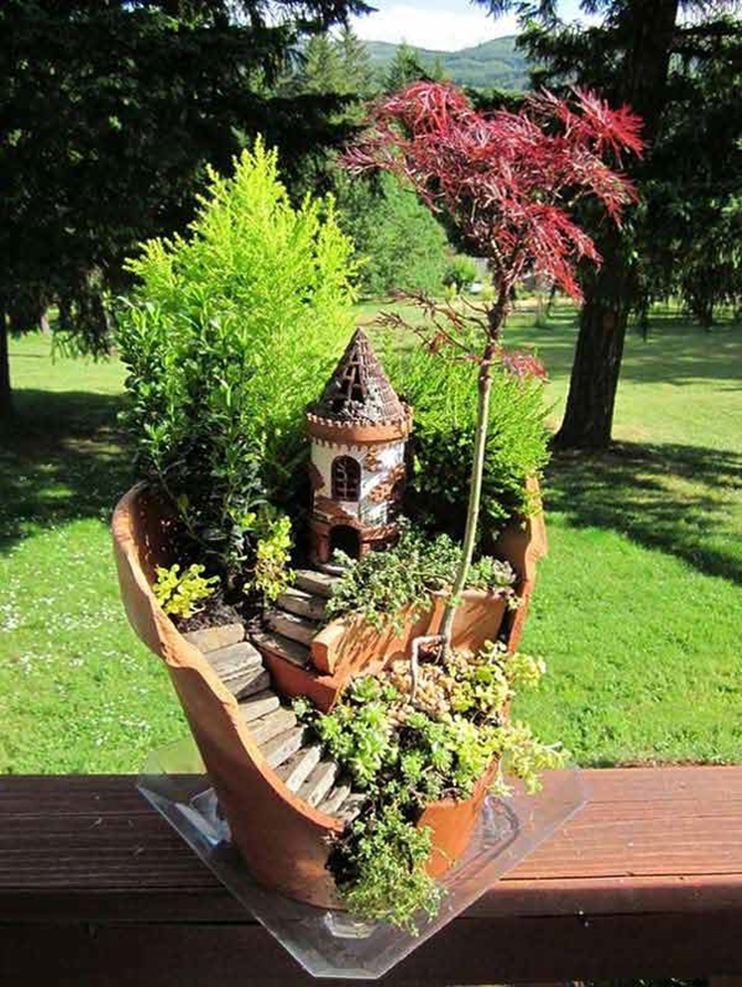 diy broken clay pot fairy garden ideas tutorials with pictures - Garden Ideas Using Pots
