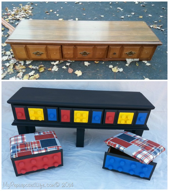 DIY Lego Table from Repurposed Dresser Instructions - DIY Lego Table Project Ideas for Kids