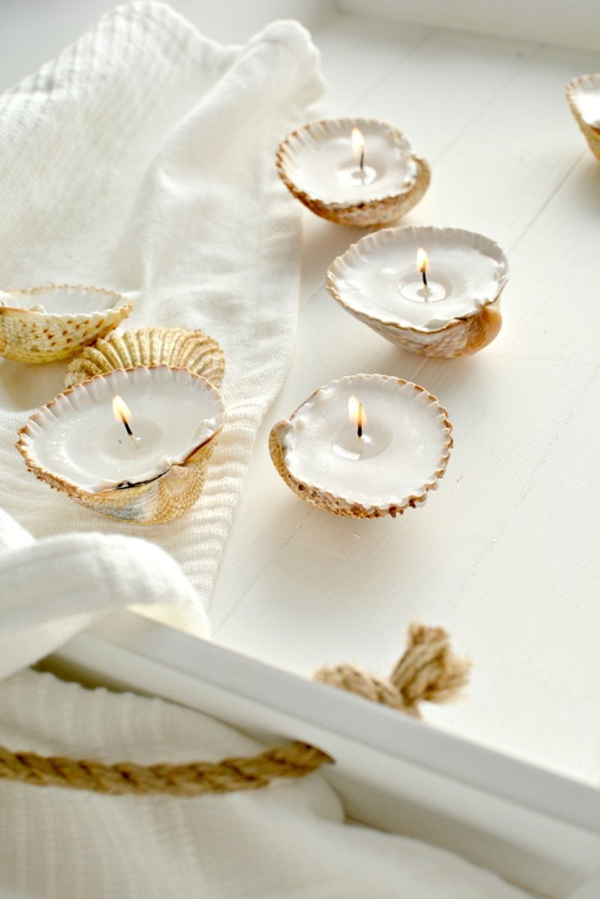 DIYHowto 20 DIY Candle Projects That Are Beautiful And Decorative For Home-DIY Shell Candle
