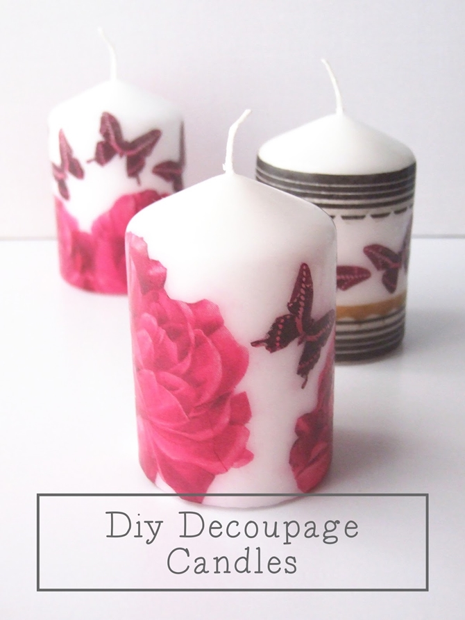 DIYHowto 20 DIY Candle Projects That Are Beautiful And Decorative For Home-DIY Napkin Decoupaged Candle