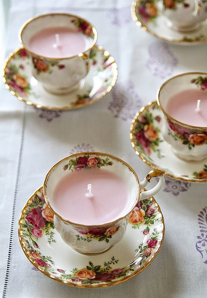 DIYHowto 20 DIY Candle Projects That Are Beautiful And Decorative For Home-DIY Vintage Teacup Scented Candles