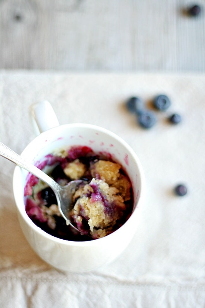 20 Easy Breakfast Mug Recipes For Lazy Morning-Blueberry Muffin in a Mug