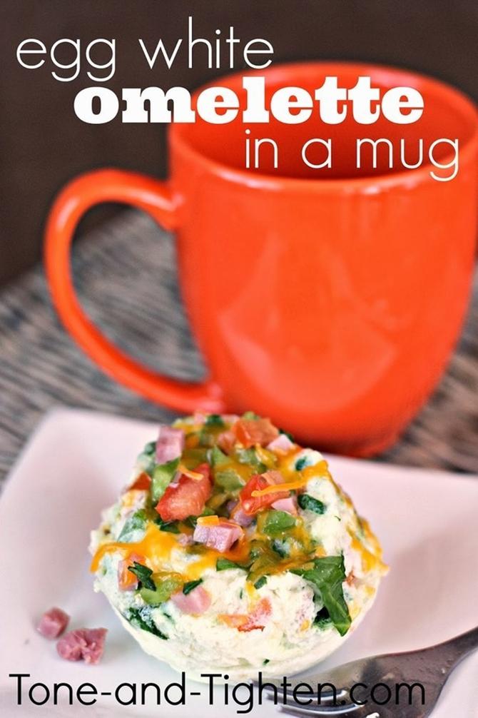 20 Easy Breakfast Mug Recipes For Lazy Morning-Egg White Omelette in a Mug