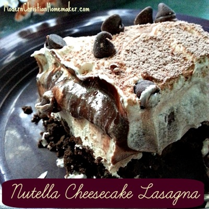 25 Dessert Lasagna Recipes To Make Your Party Wow02-Nutella Cheesecake Lasagna