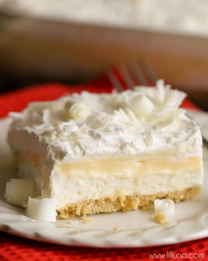 25 Dessert Lasagna Recipes To Make Your Party Wow03-White Chocolate Lasagna