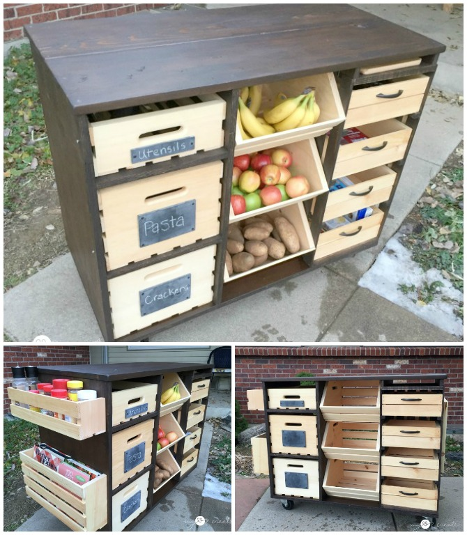 DIY Kitchen Island with Pantry Storage Free Plan