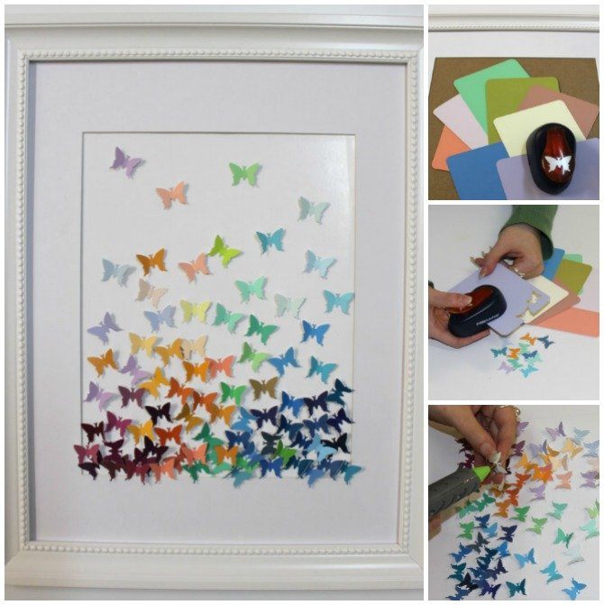 DIY Paint Chip Butterfly Wall Art Top 15 Paint Chip DIY Projects For Home  Decoration
