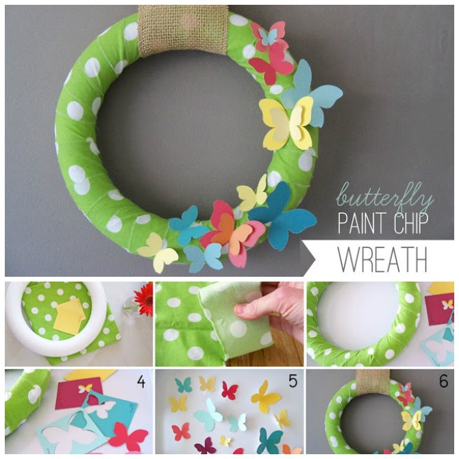 DIY Paint Chip Butterfly Wreath-Top 15 Paint Chip DIY Projects For Home Decoration
