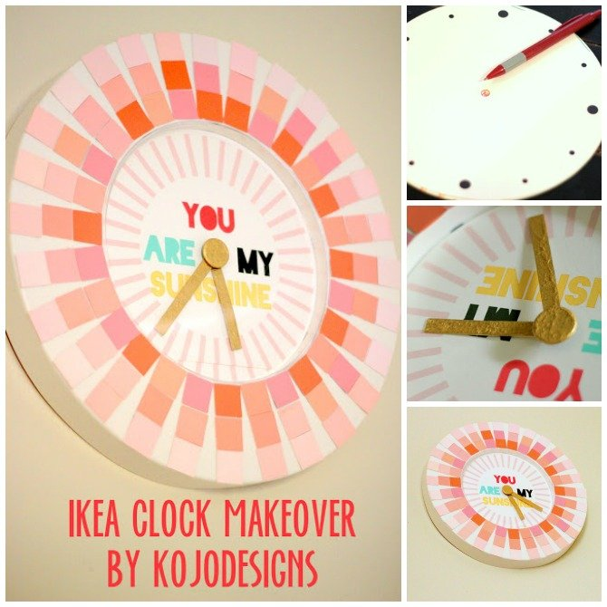 DIY Paint Chip Clock Makeover-Top 15 Paint Chip DIY Projects For Home Decoration