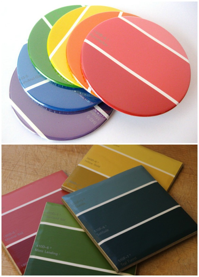 DIY Paint Chip Coaster-Top 15 Paint Chip DIY Projects For Home Decoration