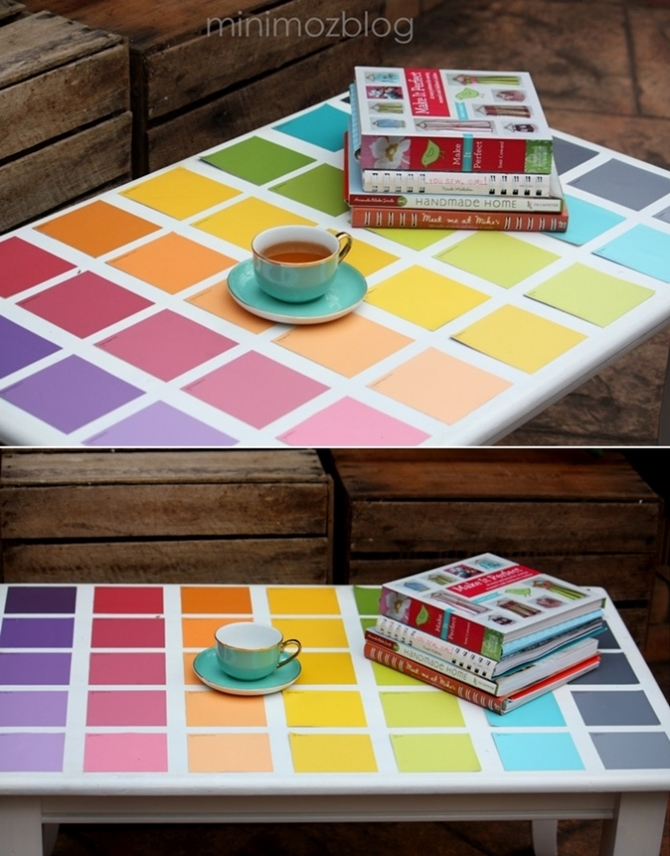 DIY Paint Chip Coffee Table Makeover-Top 15 Paint Chip DIY Projects For Home Decoration