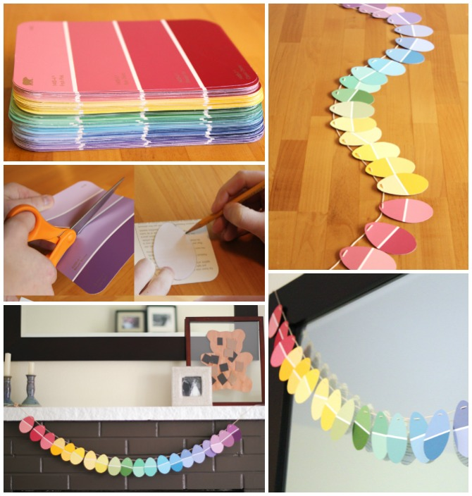 DIY Paint Chip Easter Egg Garland-Top 15 Paint Chip DIY Projects For Home Decoration