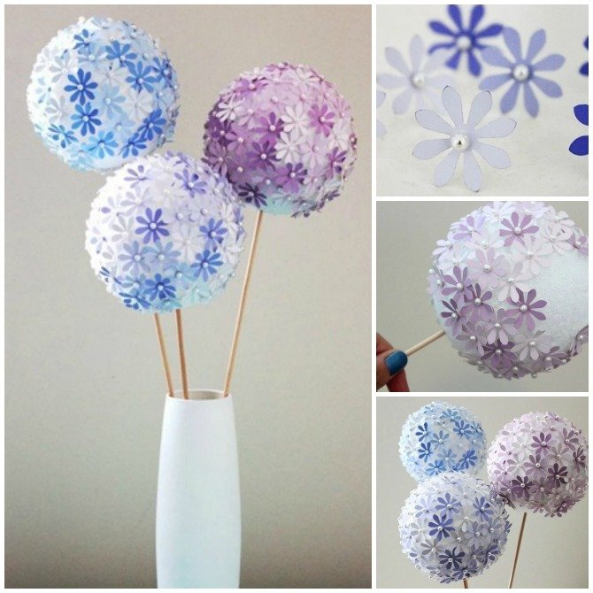 DIY Paint Chip Flower Ball-Top 15 Paint Chip DIY Projects For Home Decoration