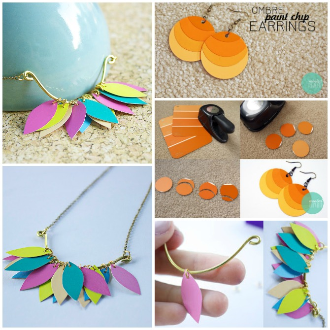 DIY Paint Chip Jewelry-Top 15 Paint Chip DIY Projects For Home Decoration