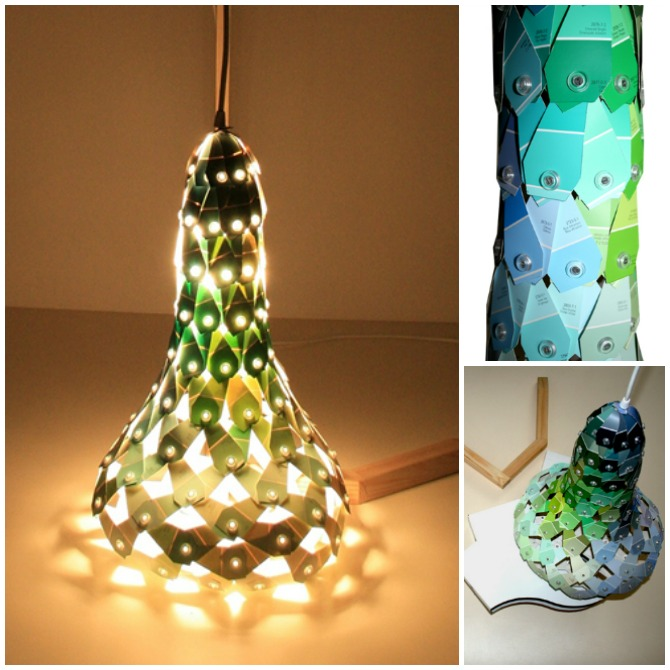 DIY Paint Chip Lamp Shade-Top 15 Paint Chip DIY Projects For Home Decoration