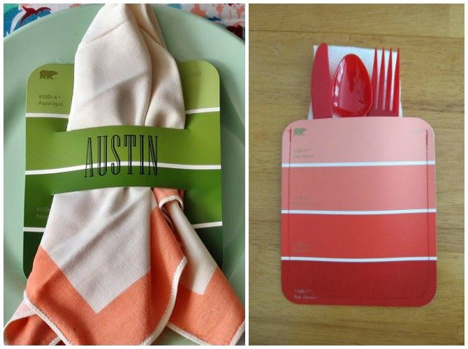 DIY Paint Chip Napkin Utensil Table Setting-Top 15 Paint Chip DIY Projects For Home Decoration