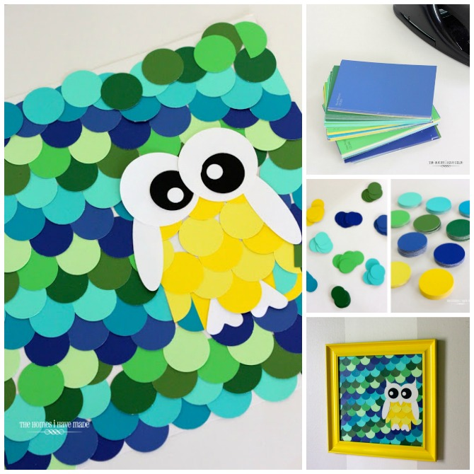 DIY Paint Chip Owl Wall Art-Top 15 Paint Chip DIY Projects For Home Decoration