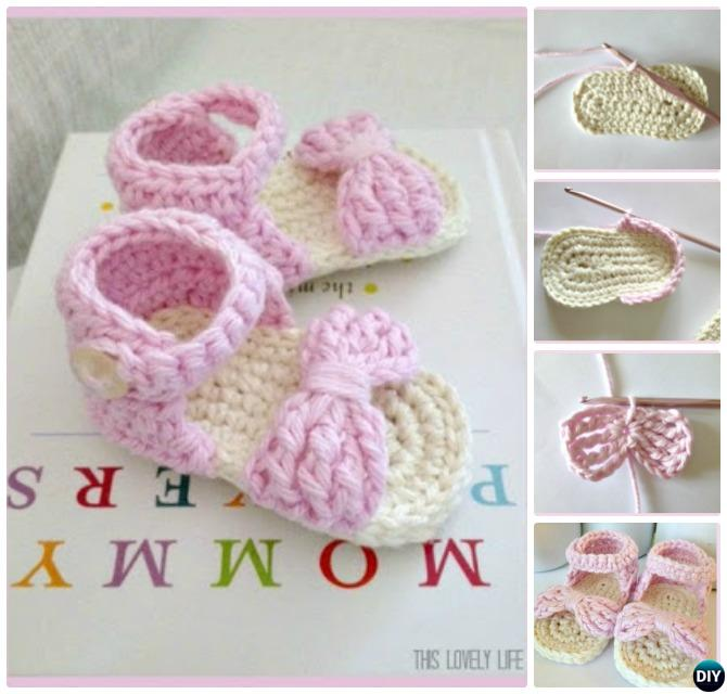 Bow Front Crochet Baby Sandals Free Pattern